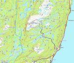 Oversiktskart over Rabbora. Dagens rute vist med svart gps-spor.